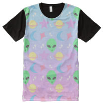 Pastel Alien Pattern All-Over-Print T-Shirt