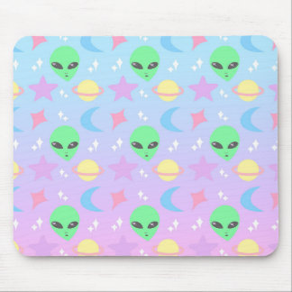 Pastel Alien Pattern Mouse Pad