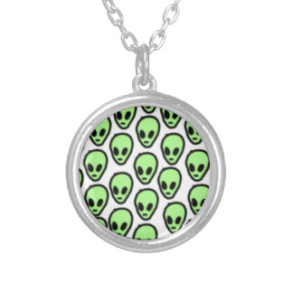 Pastel Aliens Round Pendant Necklace