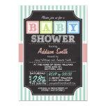 Pastel Alphabet Blocks Chalkboard look Baby Shower 5x7 Paper Invitation Card