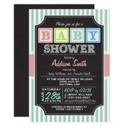Pastel Alphabet Blocks Chalkboard look Baby Shower Invitation