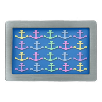 Pastel Anchor Pattern Rectangle Belt Buckle