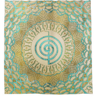 Pastel and Gold  Choku Rei Symbol in Mandala Shower Curtain