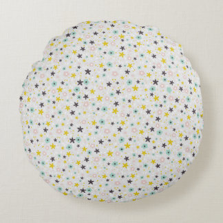 Pastel and Gray Cute Ditsy Floral Round Pillow