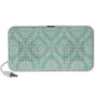 pastel aqua and cream fleur elegant damask iPod speakers