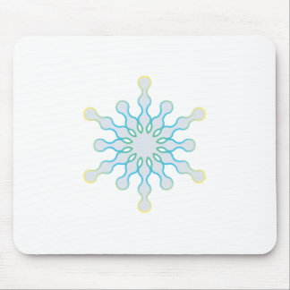 Pastel Aqua and Pink Winter Snowflake Mouse Pad