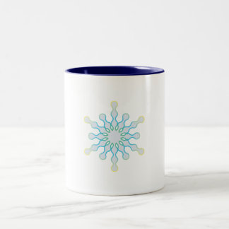 Pastel Aqua and Pink Winter Snowflake Mugs