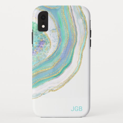Pastel Aqua and Purple Agate with Monogram iPhone XR Case