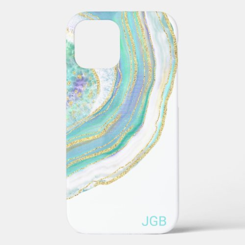 Pastel Aqua and Purple Agate with Monogram iPhone 12 Case