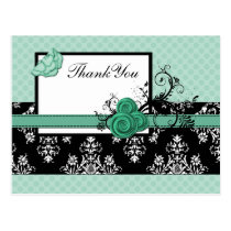 pastel aqua damask polka dots Thank you Postcard