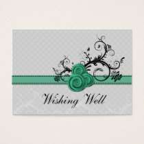 pastel aqua damask polka dots wishing well cards