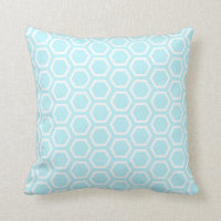 Pastel Aqua Honeycomb Pattern Throw Pillow