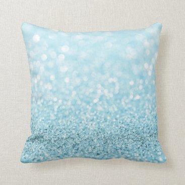 Beach Themed Pastel Aqua Ocean Blue Glitter  White Delicate Throw Pillow