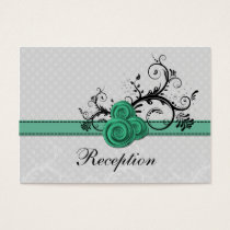 pastel aqua roses wedding Reception Cards