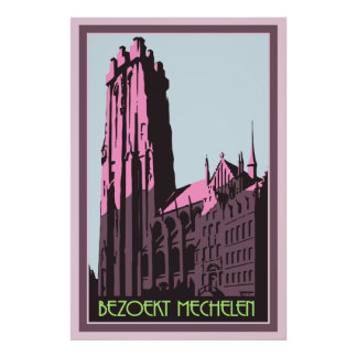 Pastel art deco visit Mechelen Belgium travel ad Poster