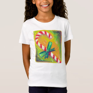 Pastel Art, Red White Striped Christmas Candy Cane T-Shirt