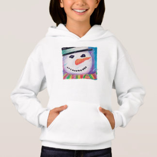 Pastel Art Snowman with Carrot Nose, Christmas Fun Hoodie