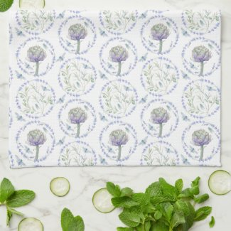 Pastel Artichokes in Provence Kitchen Towel