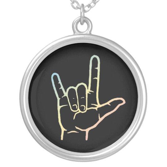 Pastel ASL I Love You Hand Necklace