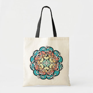 Pastel Aum Mandala Tote with Hearts Budget Tote Bag