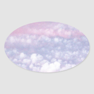 Pastel Autumn Evening Clouds Oval Sticker