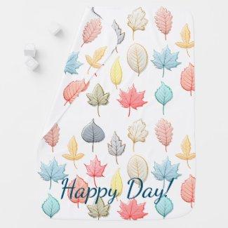 Pastel Autumn Leaves Baby Blanket