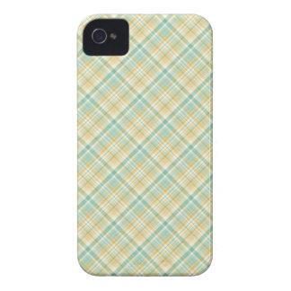 Pastel Autumn Plaid Pattern Aqua and Orange iPhone 4 Case-Mate Cases