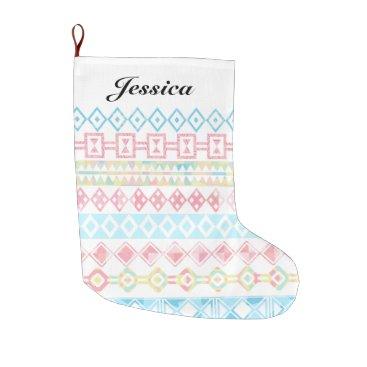Aztec Themed Pastel Aztec Print Holiday Custom Name Large Christmas Stocking