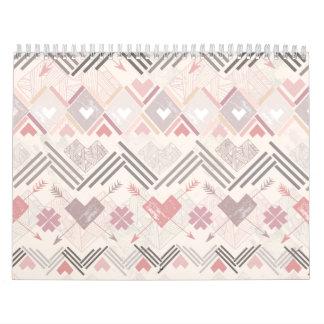 Pastel Aztec Soft Geometric Pink Girly Calendars