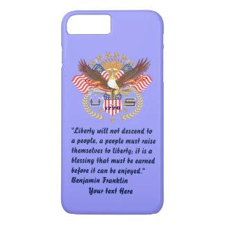 Pastel azul del bosque patriótico de la paz funda iPhone 7 plus