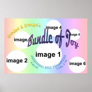 Pastel Baby Boy Bundle of Joy Photo Collage Poster