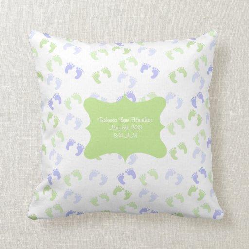 Pastel Baby Foot Prints Baby Room Decor Pillow Zazzle