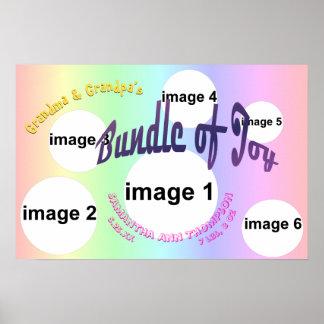 Pastel Baby Girl Bundle of Joy Photo Collage Print