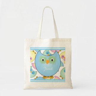 Pastel Baby Owl Nursery Theme in Blue Tote Bag