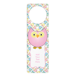 Pastel Baby Owl Nursery Theme in Pink Door Hanger