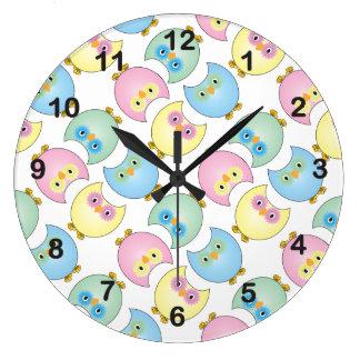 Pastel Baby Owl Nursery Theme Large Clock