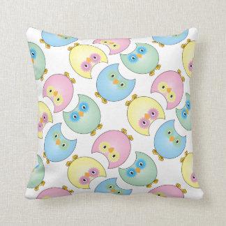 Pastel Baby Owl Nursery Theme Throw Pillow
