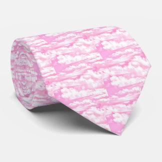 Pastel Baby Pink Happy Clouds Decor Neck Tie