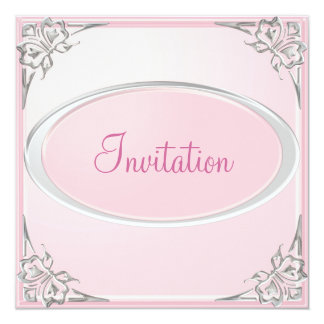 Pastel Baby Pink Silver Butterfly Event Card