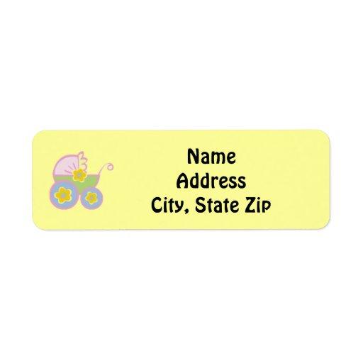 Pastel Baby Stroller Return Address Label