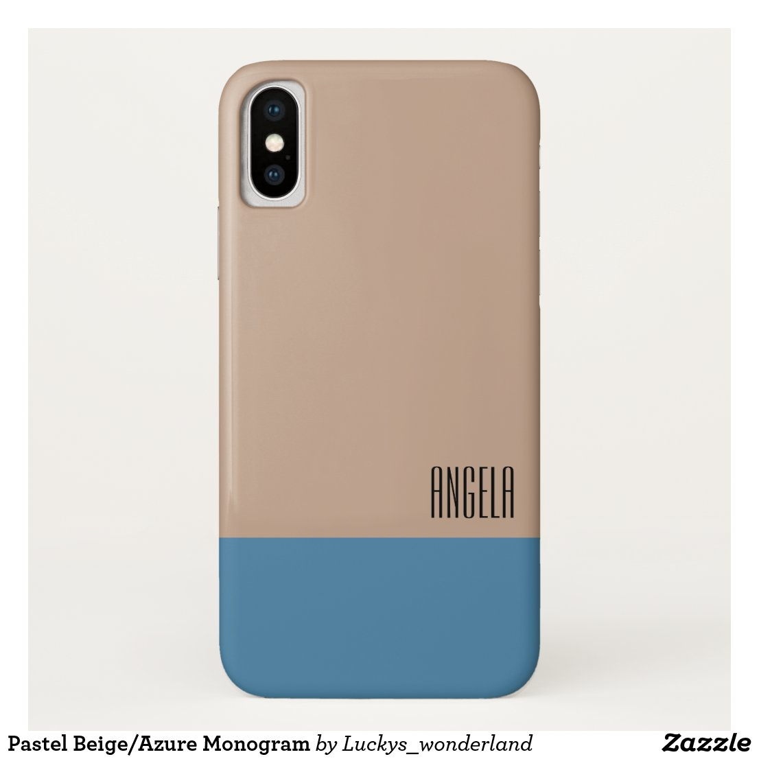 Pastel Beige/Azure Monogram iPhone X Case