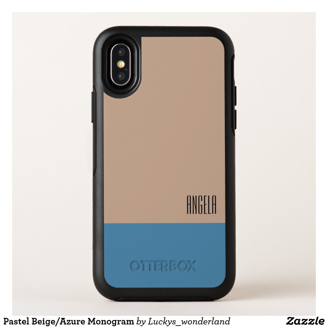 Pastel Beige/Azure Monogram OtterBox Symmetry iPhone X Case