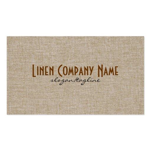 Pastel Beige Natural Linen Burlap Fabric Look Business Card Template