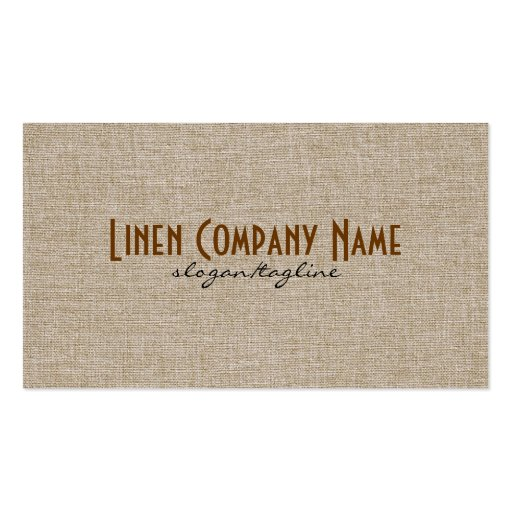 Pastel Beige Natural Linen Burlap Fabric Look Business Card Template