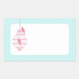 Pastel Birdcage Rectangular Sticker