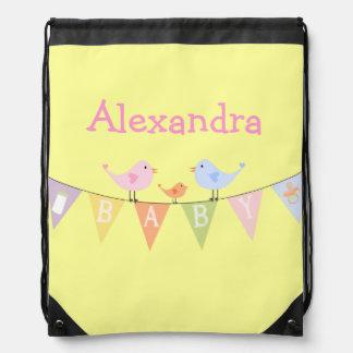 Pastel Birds On A Baby Banner Drawstring Bag