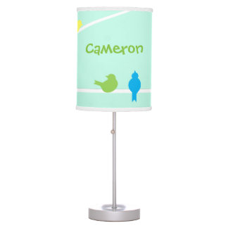 Pastel Birds Personalized Lamp
