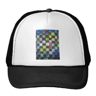Pastel Black Checkered Pattern Trucker Hat