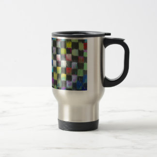 Pastel Black Checkered Pattern Travel Mug