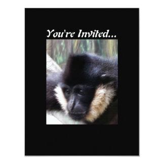 Pastel blanco del Gibbon de Cheeked Invitación 10,8 X 13,9 Cm